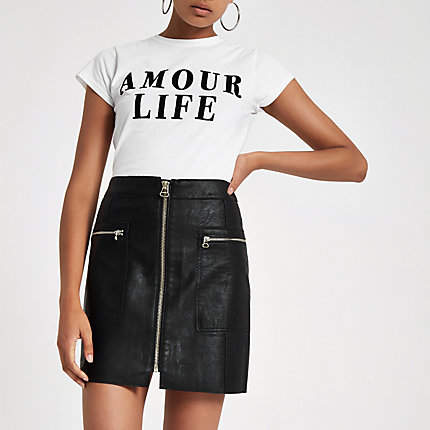 Womens Black zip pocket biker mini skirt