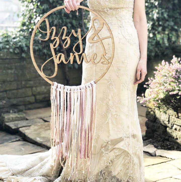 modo creative Personalised Wedding Boho Fringe Hoop
