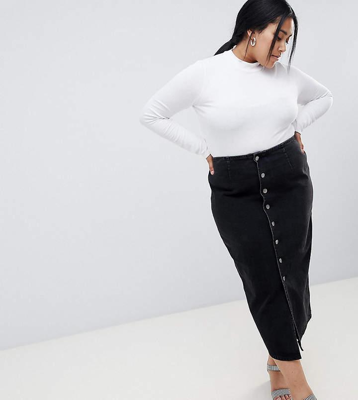 Asos Curve ASOS DESIGN Curve denim midi skirt with buttons in black
