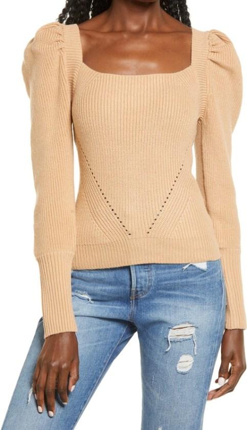 WAYF - puff sleeve sweater