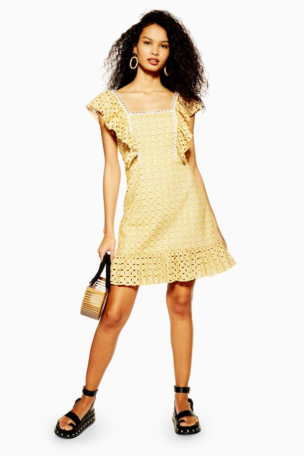 Topshop Womens Yellow Broderie Mini Dress - Yellow