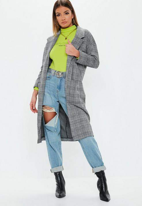 Missguided Gray Check Duster Coat