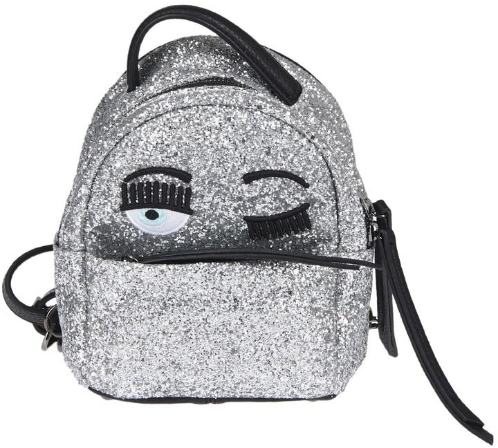 Chiara Ferragni Silver Glitter Backpack flirting