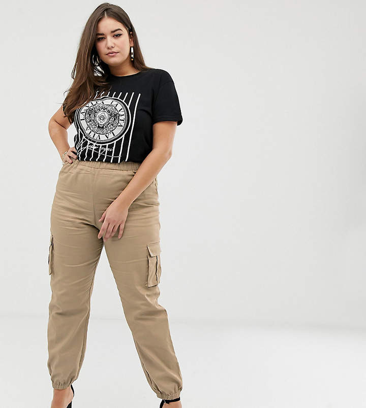 Prettylittlething Plus PrettyLittleThing Plus exclusive plus pocket detail cargo trousers in stone