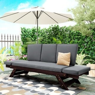 outdoor adjustable patio wooden daybed sofa chaise lounge with cushions for small places