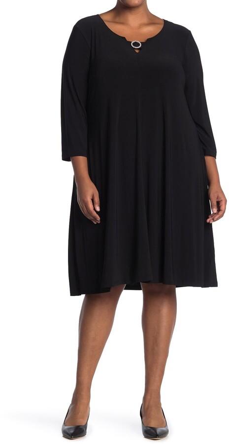 pearl trim 3 4 length sleeve dress