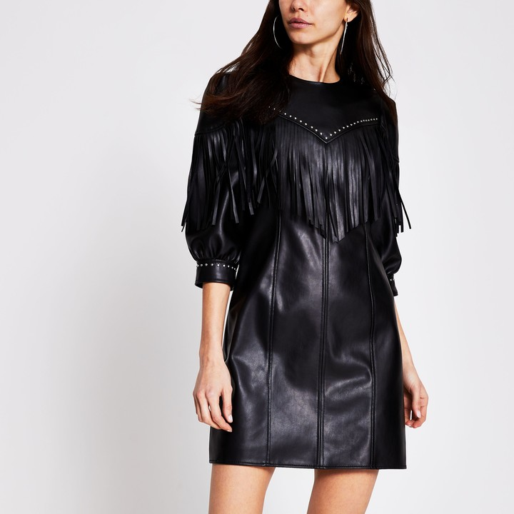 Womens Black faux leather fringe mini shift dress