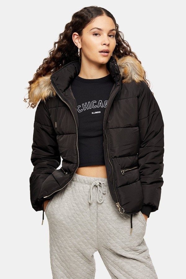 Topshop Womens Black Detachable Faux Fur Hooded Padded Puffer Jacket - Black