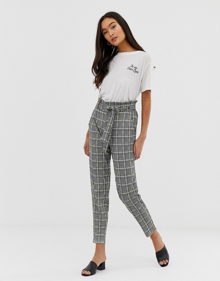 QED London paperbag waist peg pants in houndstooth with neon yellow check