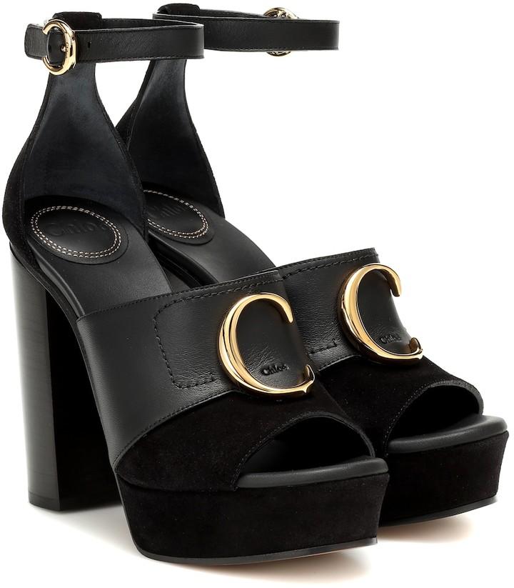 Chloé Chloe C platform leather sandals