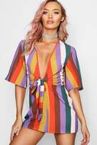 boohoo Tie Front Wide Stripe Playsuit