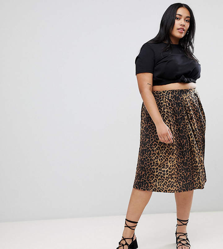 Asos Curve ASOS DESIGN Curve box pleat midi skirt in leopard print
