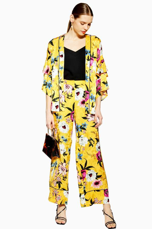 Topshop Yellow Floral Print Wide Leg Pants