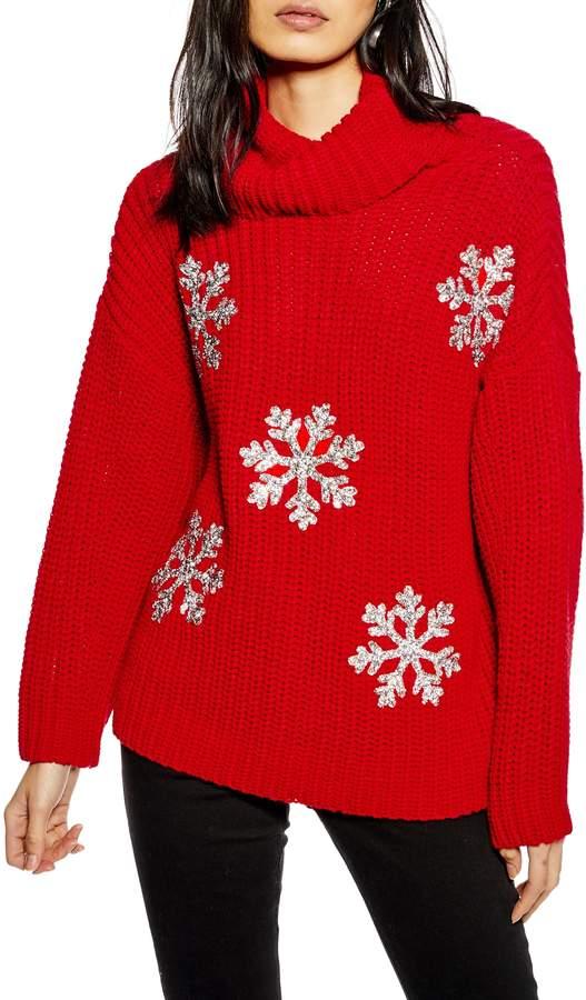 Topshop Christmas Glitter Snowflake Sweater