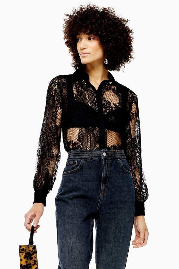 Topshop Womens Black Lace Shirt - Black