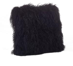 saro lifestyle wool mongolian lamb fur throw pillow 16 x 16