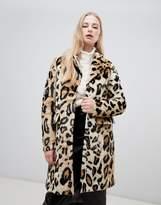 Vero Moda leopard print faux fur coat