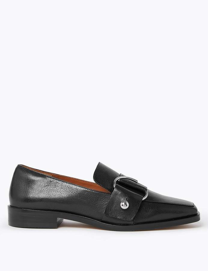AutographMarks and Spencer Leather Ring Strap Loafers