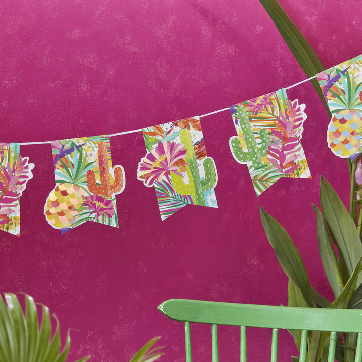 Ginger Ray Tropical Iridescent Foiled Cactus And Pineapple Bunting