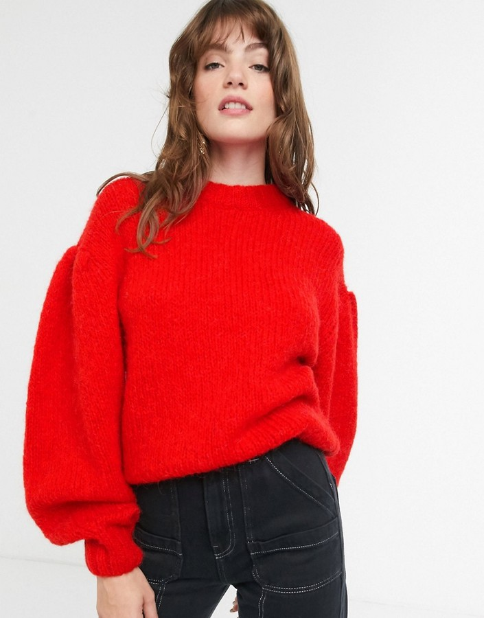 & Other Stories puff sleeve fluffy jumper in red