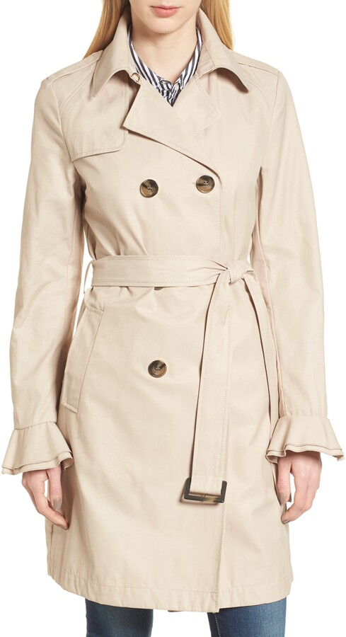 stella ruffle sleeve trench coat