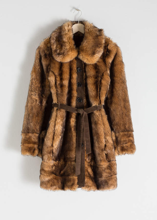 And other stories Belted Faux Fur Coat
