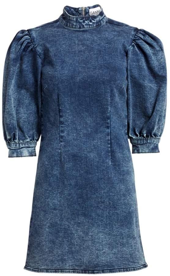 Ganni Cult Puff-Sleeve Denim Mini Dress