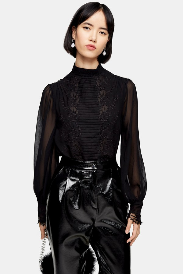 Topshop Womens Idol Black Embroidered Cutwork Blouse - Black