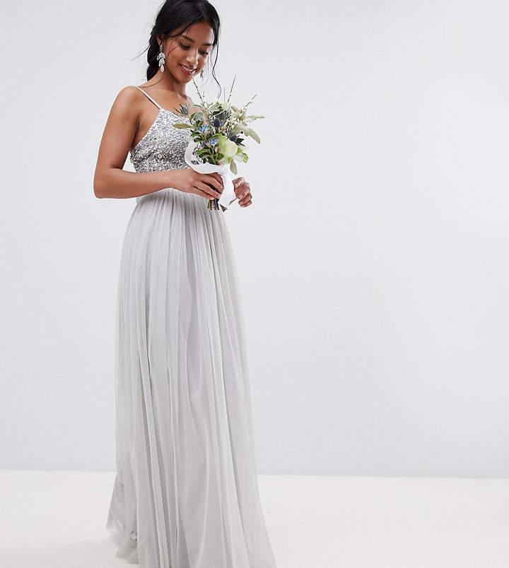 Maya Petite Cami Strap Sequin Top Tulle Detail Maxi Bridesmaid Dress