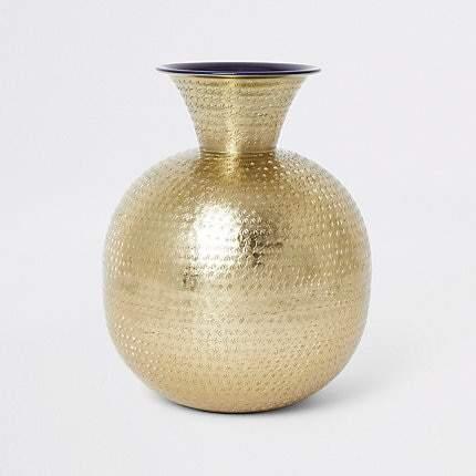 Large textured Gold balloon vase