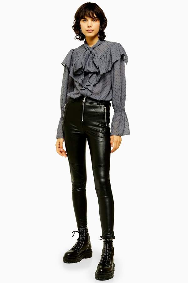 Womens Idol Black Skinny Biker Faux Leather Pu Trousers - Black