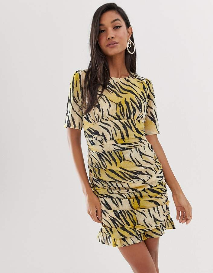 Asos Design ASOS DESIGN ruched side mini dress in natural tiger print-Multi