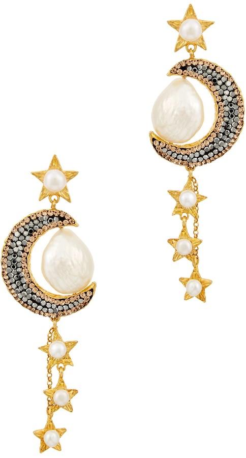 Soru Jewellery Atlas 18kt Gold-plated Moon Drop Earrings