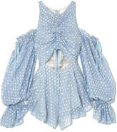 alice McCALL - Did It Again Cold-shoulder Gathered Fil Coupé Georgette Playsuit - Blue