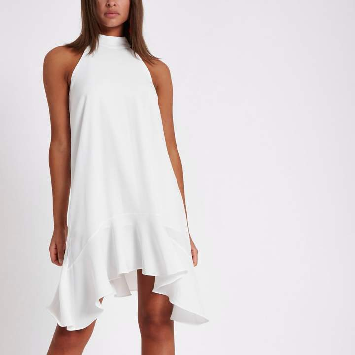 River Island Womens White tie back frill hem shift dress