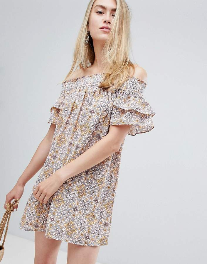 En Crème En Creme off shoulder floral mini dress-Cream