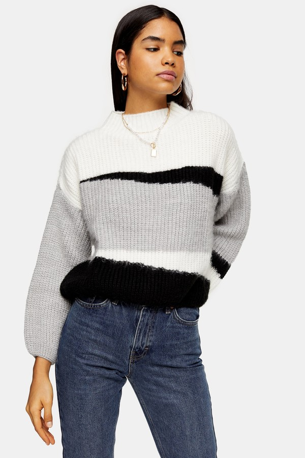 Topshop Womens Knitted Colour Block Cropped Jumper - Multi