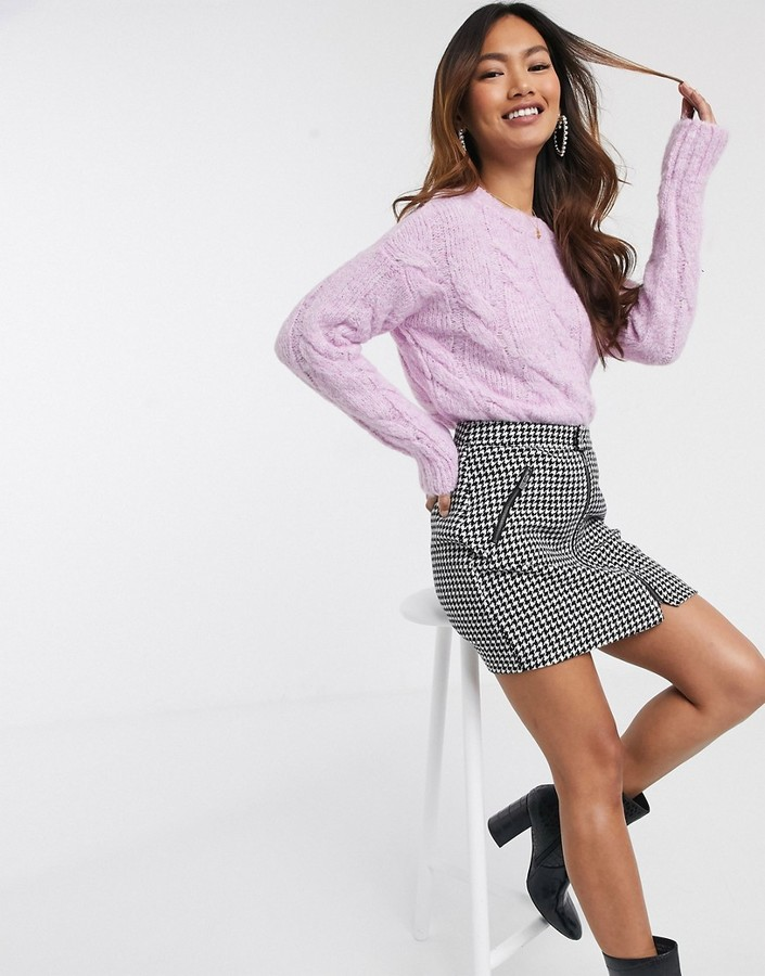 Miss Selfridge cable knit jumper in lilac