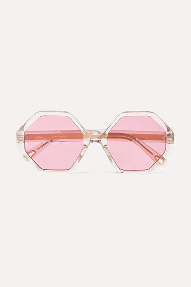 Chloé Chloe - Willow Hexagon-frame Acetate And Gold-tone Sunglasses - Pink