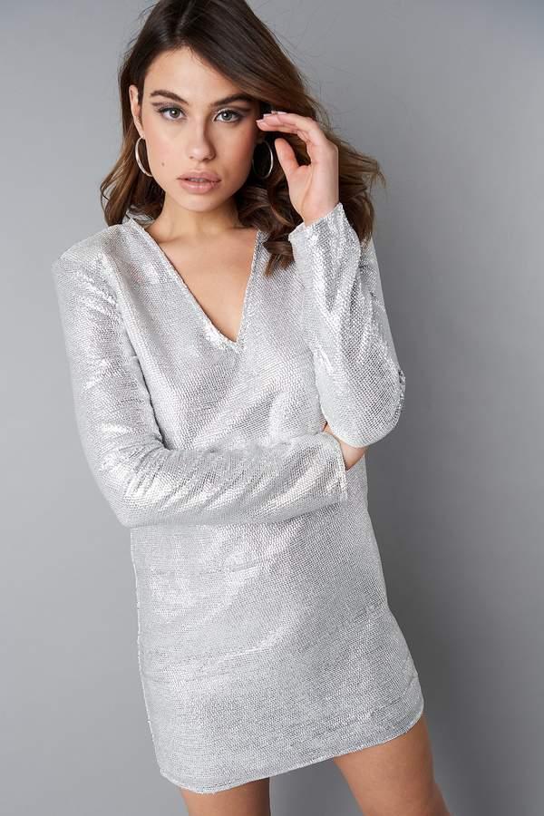 NA-KD Square Shoulder Sequins Dress