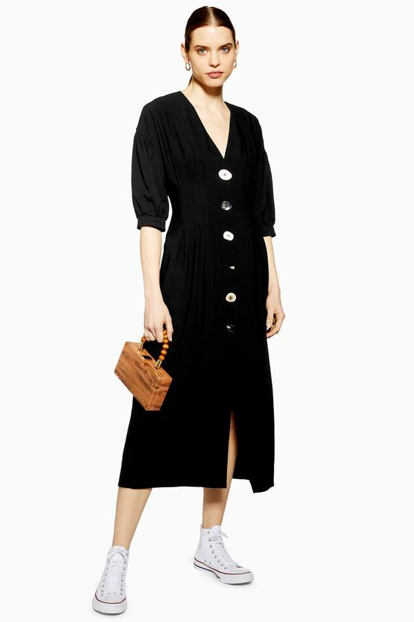 Topshop Womens Mixed Button Midi Dress - Black