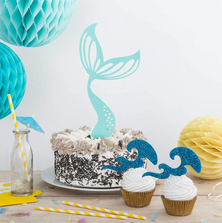 Funky Laser Mermaid Tail And Waves Party Cake Topper Set
