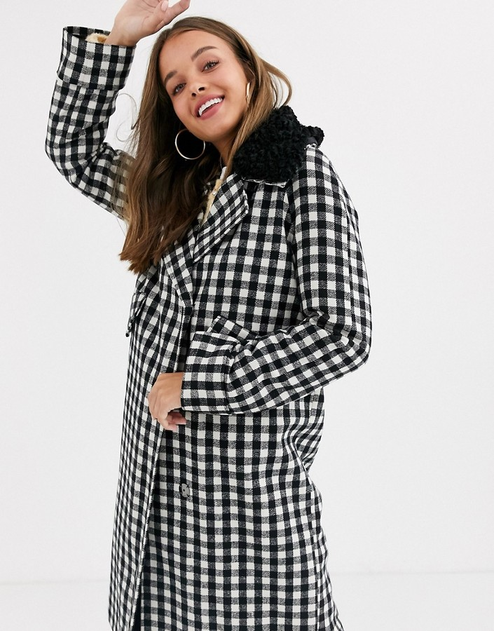 Asos Design ASOS DESIGN check coat with borg collar detail-Multi
