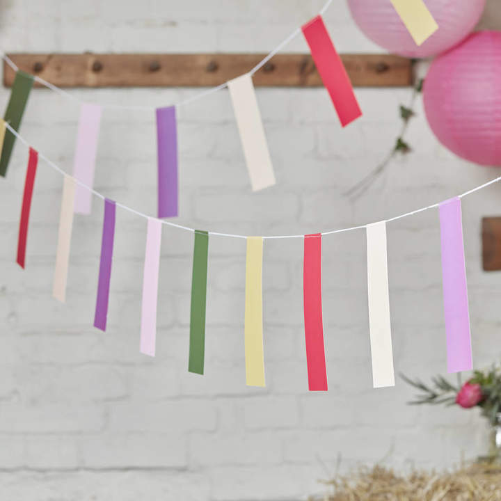 Ginger Ray Boho Themed Colourful Flag Bunting Hanging Decoration