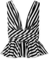 Caroline Constas - Striped Cotton-poplin Peplum Top - Black