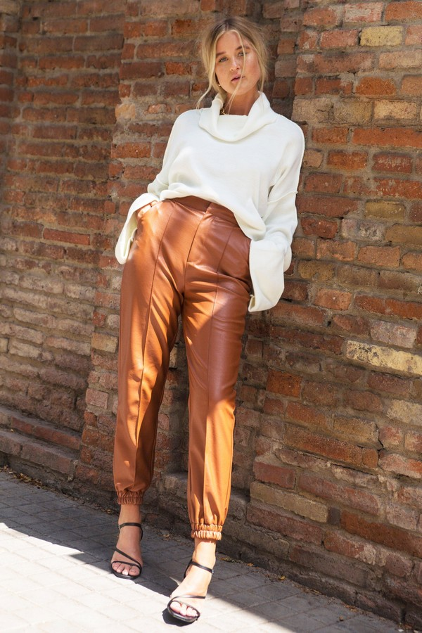 Womens Faux Leather Cuffed Seam Joggers - Brown - 8