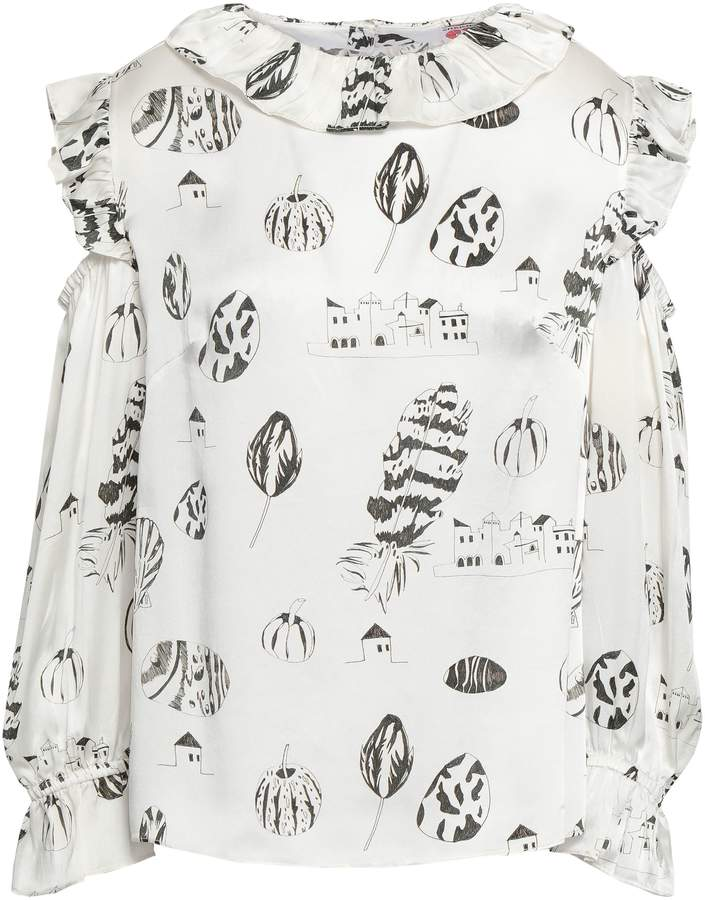 Shrimps Cold-shoulder Printed Silk Blouse