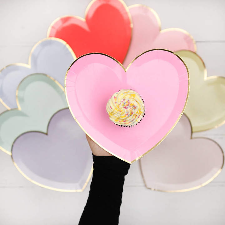 Postbox Party 8x Colourful Love Heart Shaped Paper Plates