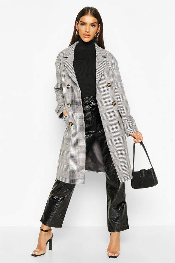 Boohoo flannel Double Breasted Wool Look Coat