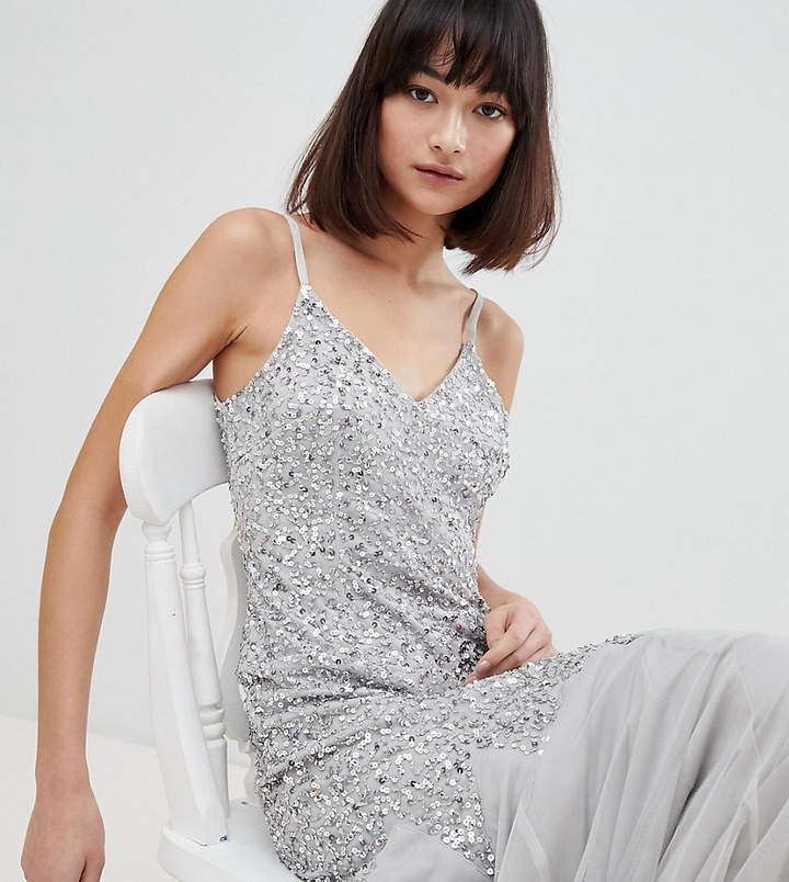 Maya All Over Sequin Cami Strap Fishtail Maxi Bridesmaid Dress